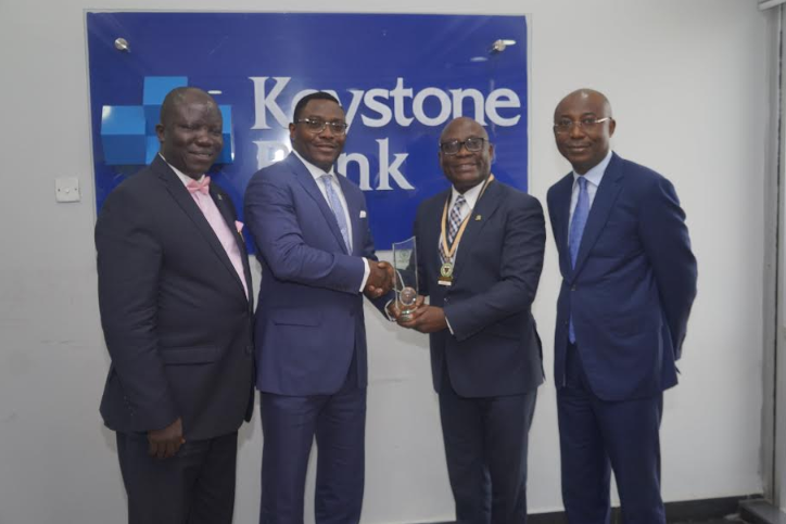 Seye Awojobi; Group Managing Director/CEO, Keystone Bank Limited, Dr. Obeahon Ohiwerei; President/Chairman of Council, CIBN, Dr. Uche Olowu and Group Deputy Managing Director, Keystone Bank Limited, Abubakar Sule | e-nigeriang